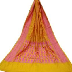 Benarasi Dhakai- Yellow Body with Pink Border and Pallu