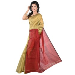 Blended Cotton Silk Saree in Gold And Red