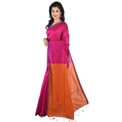 Blended Cotton Silk Saree in Pink And Orange