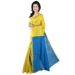 Blended Cotton Silk Saree in Yellow And Blue