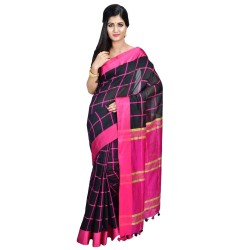 Cotton Silk Handloom - Black and Pink Checkered Body