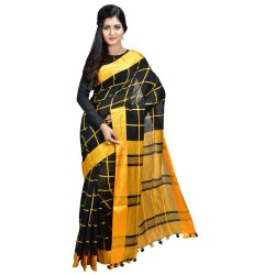 Cotton Silk Handloom - Black and Yellow Checkered Body