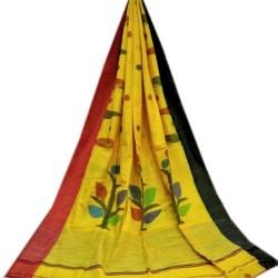 'Handloom Khadi - Yellow Floral Printed Body with Black and Red Ganga Jamuna Border