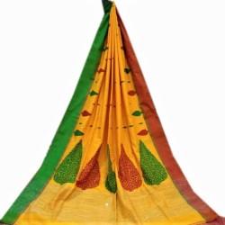 'Handloom Khadi - Yellow Body with Green and Red Ganga Jamuna Border
