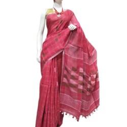 Linen Saree Pink