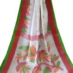 Linen Jamdani Saree - White with Red and Green Border