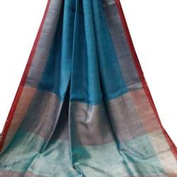 Linen Saree - Blue with Red Zari Border