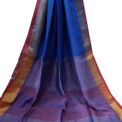 Linen Saree - Royal Blue with Red Zari Border