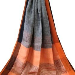 Linen Saree - Grey with Black and Orange Border
