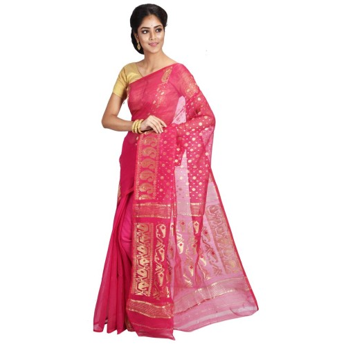 6afcc770066ca Jamdani Handloom Muslin Saree (Pink