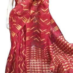Dhakai Saree- Zigzag Red Reshom Dhakai