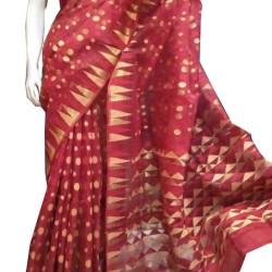 Dhakai Saree- Red Polka Dot Reshom Dhakai
