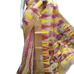 Dhakai Reshom Saree- White with Red and Yellow