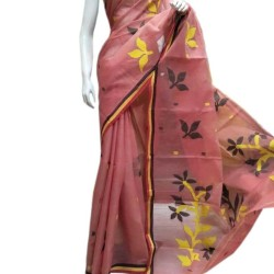 Classic Pink Tant Dhakai with Floral Motifs