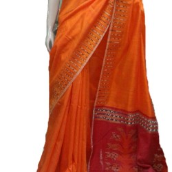 Orange Matka Khesh Silk Saree